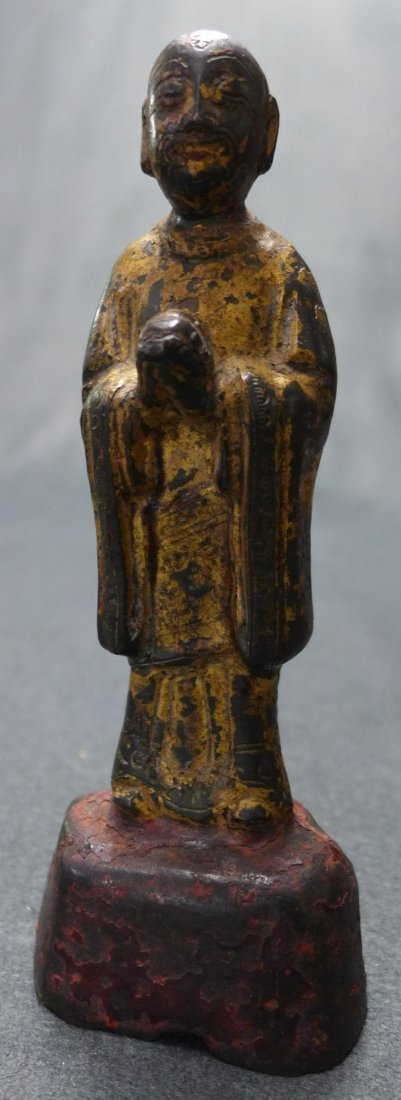 A Chinese C18th/C19th Gilded Bronze Of A Standing Monk