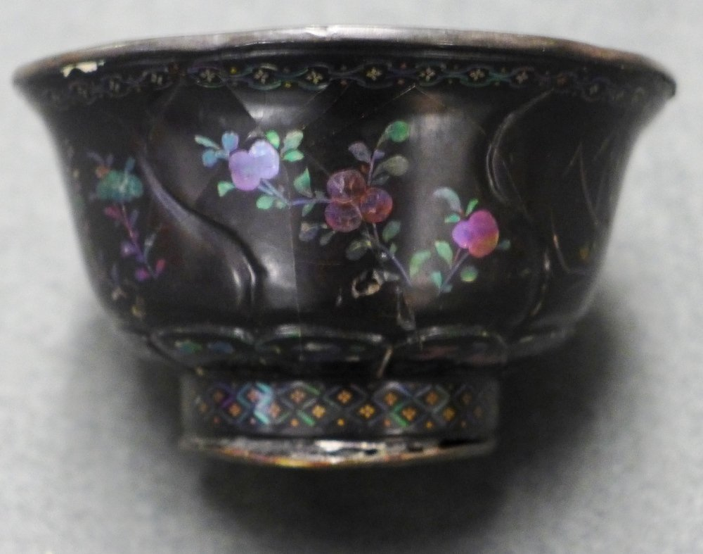 An C18th Chinese Kangxi Lacquered Lac Burgaute Bowl
