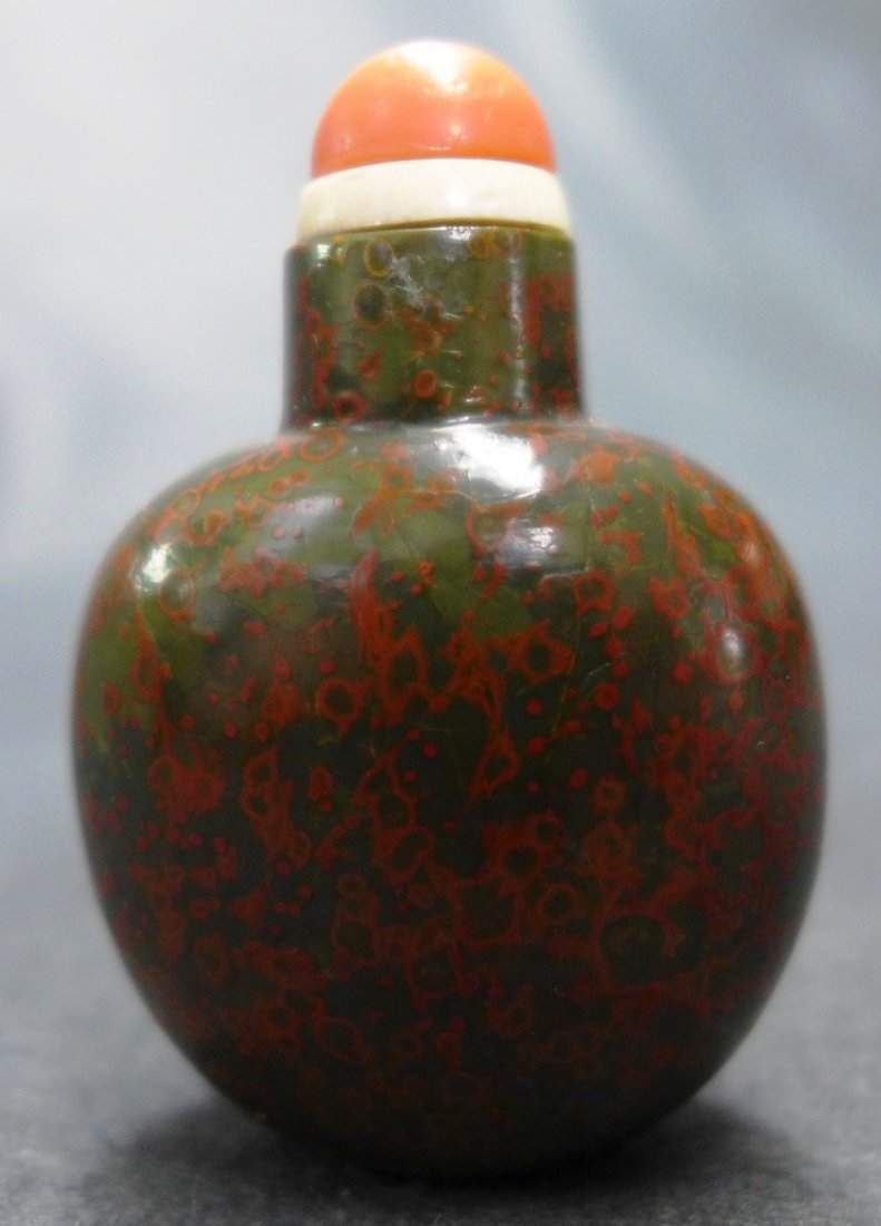A 1750-1850 Chinese Jasper Snuff Bottle W/ Red Speckles