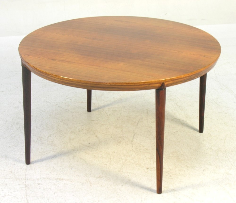 A Danish rosewood round coffee table made and labeled b