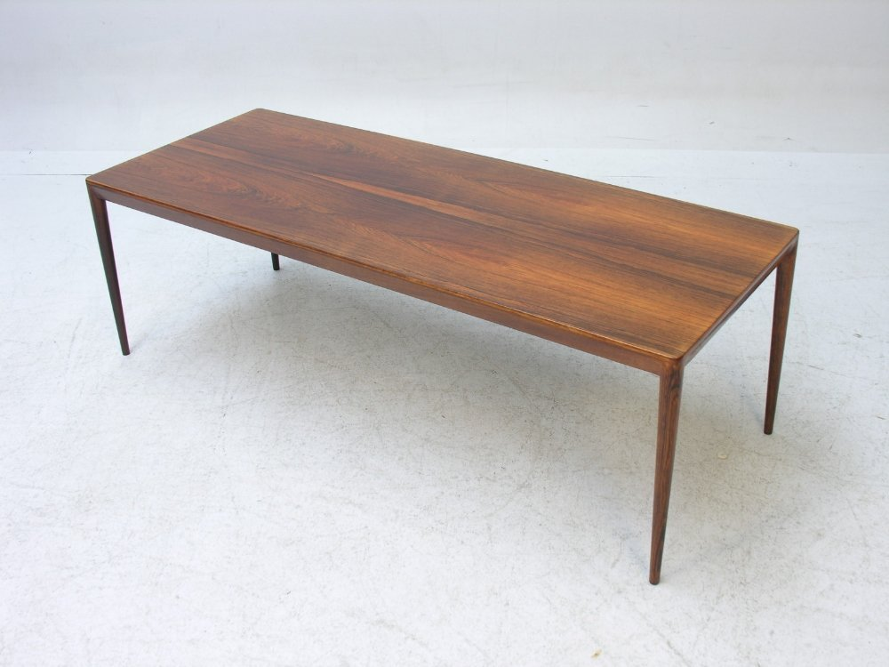 A Danish rosewood oblong coffee table made and labeled