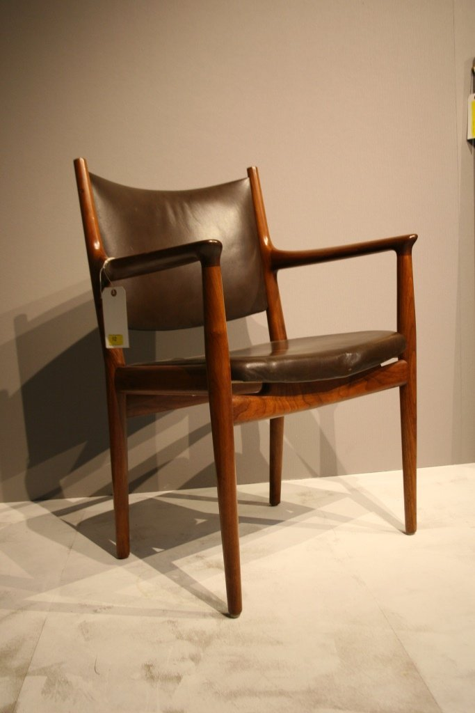A Hans Wegner 1960s walnut and original brown leather a