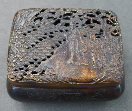 A C17th Chinese Qing Dynasty bronze hand-warmer with
