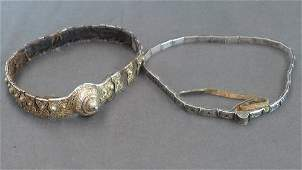 An C18th large Russian silver mounted  leather belt