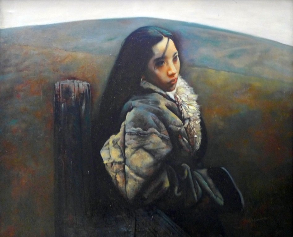 A Chinese oil on canvas ''Young Tibetan Girl'' signed