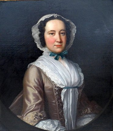 An C18th oil on canvas portrait of a lady by T Hudson