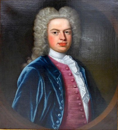An C18th oil on canvas portrait of a gentleman in gilt