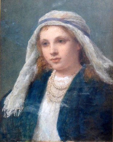 An C19th Pre-Raphaelite watercolour on paper of a girl