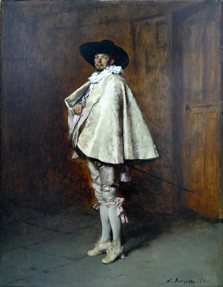 An oil on panel 'Distinguished Cavalier' by Ferdinand V