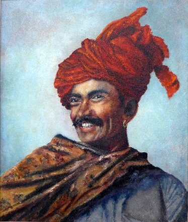 An oil on canvas of a happy Indian man wearing turban c