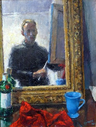 An oil on canvas self-portrait by Richard Combes signed