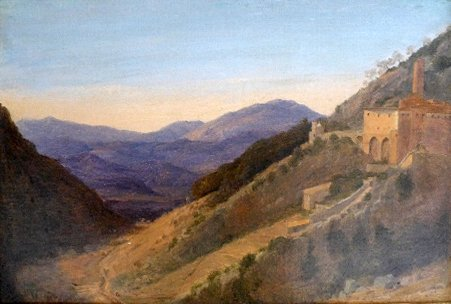 An oil on canvas 'The Convent of St Benedict at Subiaco