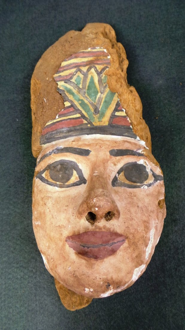 An Egyptian antiquity wooden painted mask with large he