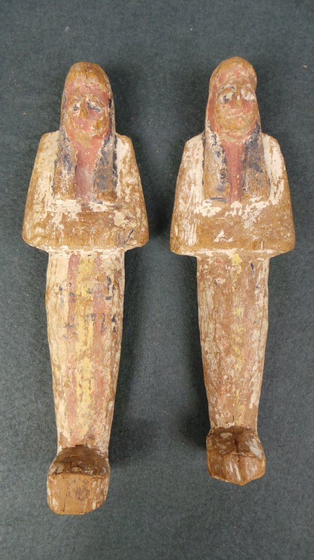 A pair of Egyptian antiquity carved wooden Shabti H 19.