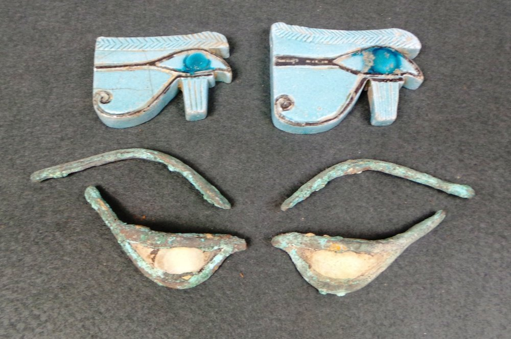 A pair of Egyptian antiquity bronze and alabaster eyes