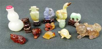 A collection of 13 Chinese miniature carvings inc. jade