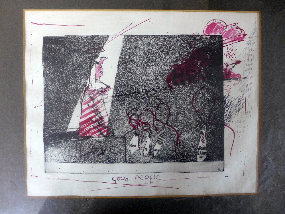 A David Hockney etching working proof with pencil and