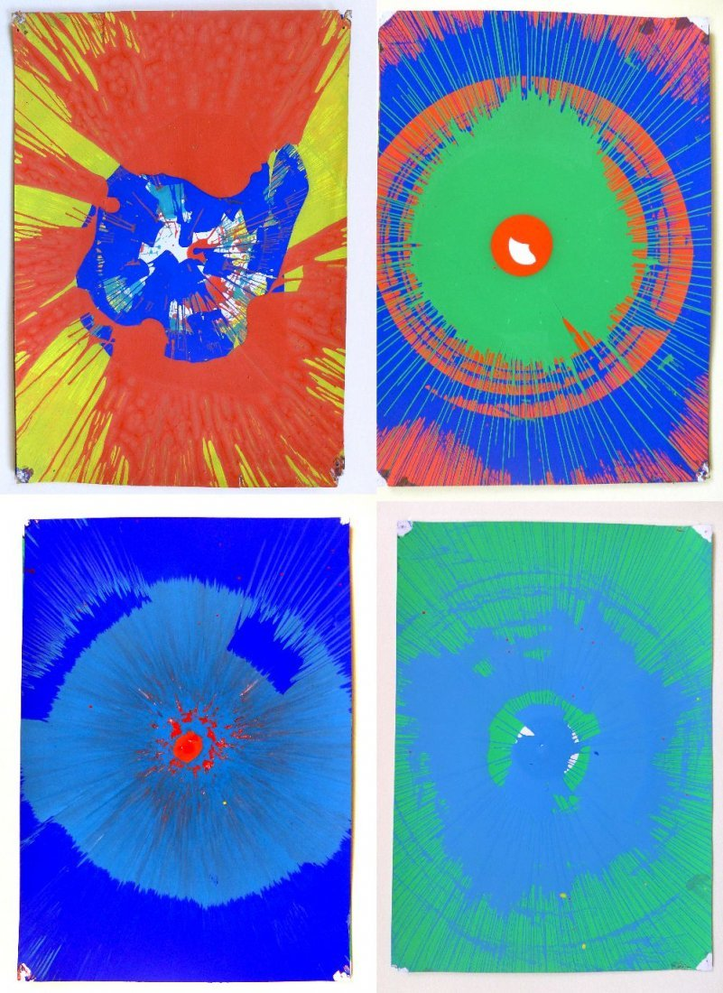 A collection of 4 original spin paintings by Damien