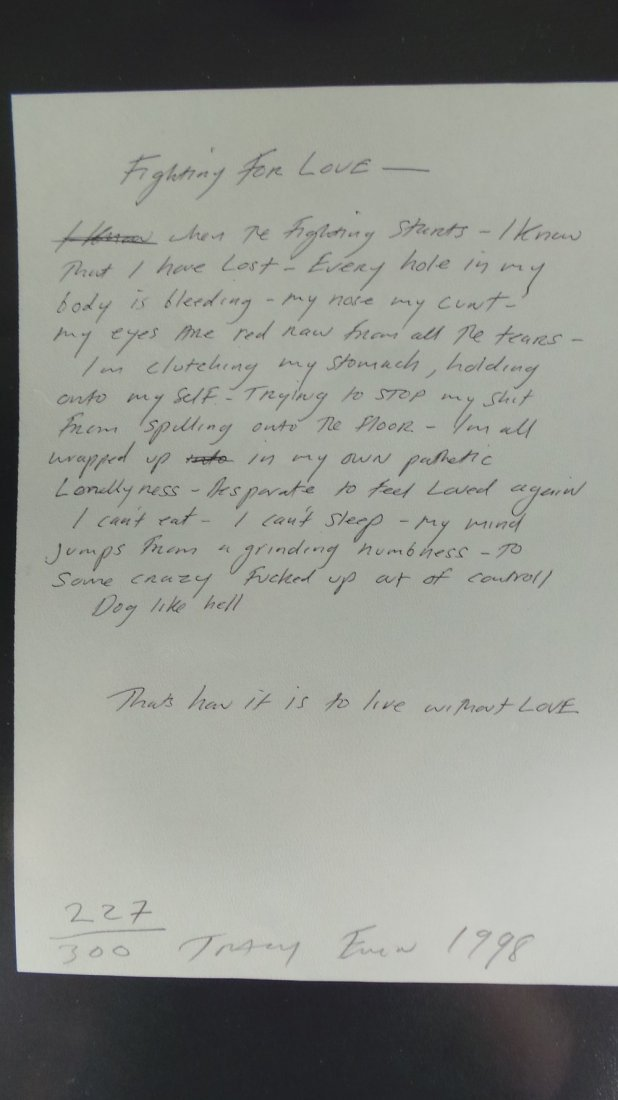 A Tracy Emin 'Fighting for Love, 1998' photocopy of