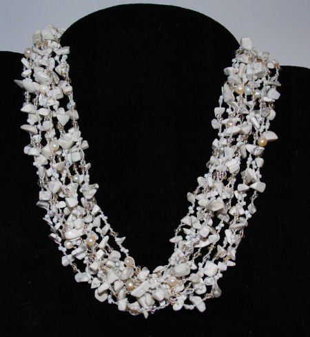 Howlite, Freshwater Pearl & Crystal Necklace