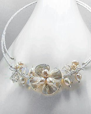 Pearl & Crystal Floral Choker Necklace