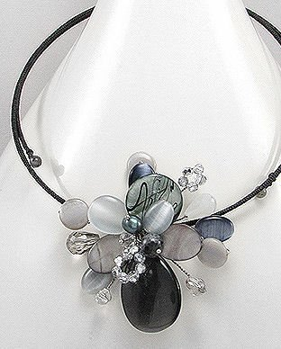Black Floral Pearl & Gemstone Choker Necklace