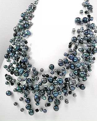 Tahitian Black 15-Strand Freshwater Pearl Necklace