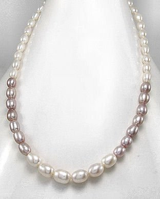 Freshwater Pearl Single Strand 2-Tone Necklace
