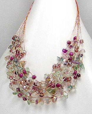 Fluorite, Jade & Crystal Necklace