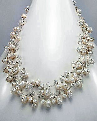 White Natural Freshwater Pearls & Crystal Necklace