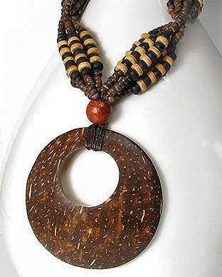 Coconut Wood Pendant Necklace