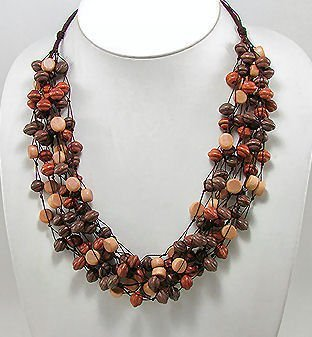 Multi-Strand Wooden Bead Necklace