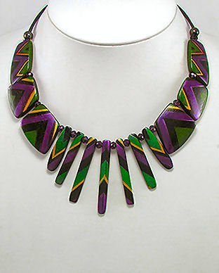 Wood & Glass Ornate Design Necklace