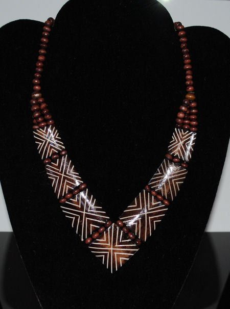 Brown Painted Wood & Bead Necklace