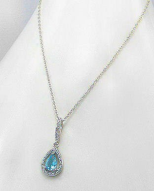Sterling Silver Blue Topaz & Diamond Necklace