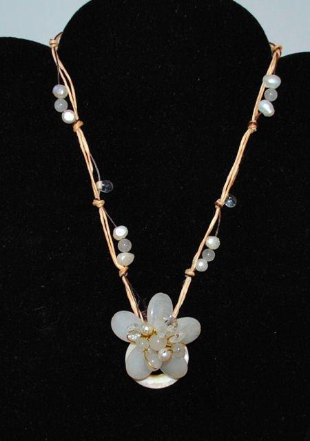 Jade, Quartz & Pearl Flower Necklace