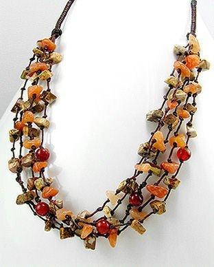 Sterling Silver Jasper & Carnelian Necklace