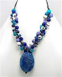 Blue Agate, Jade & Crystal Pendant Necklace