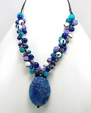 Blue Agate, Jade & Crystal Pendant Necklace
