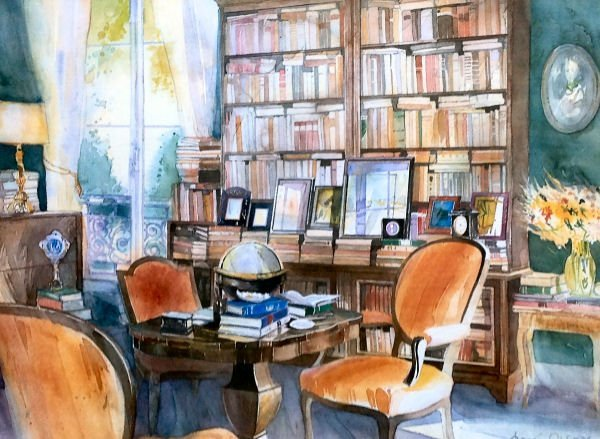 ANDRE OLSUFIER Watercolor Print  - Interior Scene