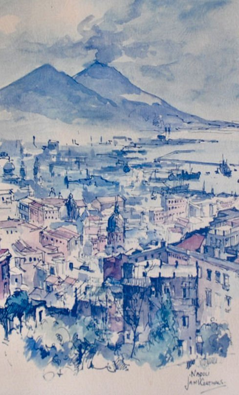 "JAN KORTHALS (1916-1973) Watercolor on Board ""Napoli"""
