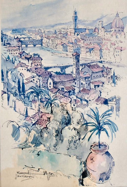 "JAN KORTHALS (1916-1973) Watercolor on Board ""Florence"""