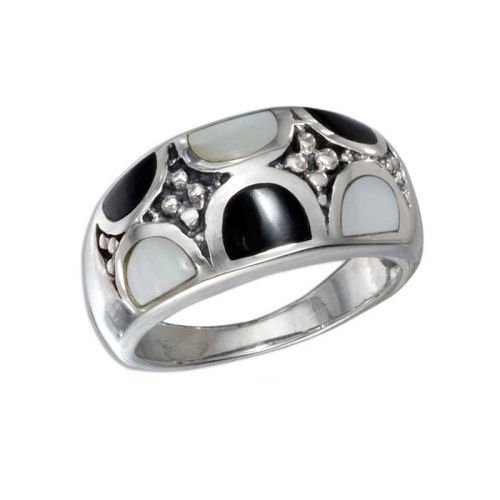 Sterling Silver Onyx & White MPO Inlay Ring