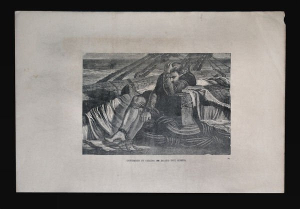 """""""Christopher Columbus in Chains"""" Engraving c1872"""