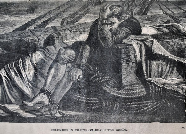 """""""Christopher Columbus in Chains"""" Engraving c1872 - 2"""