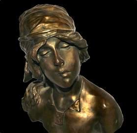 After E. VILLANIS (1858-1914) Bronze Bust of Saida