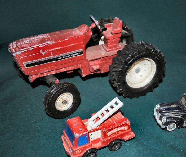 Lot of 9: Die-Cast Metal Tractor & Car Assortment