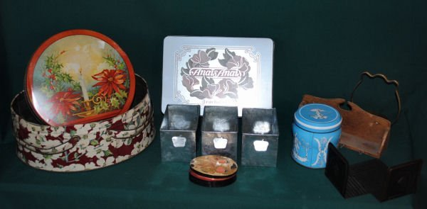 Table Lot of Vintage Tins, Boxes, Bookends