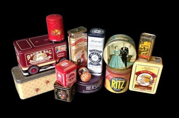 Lot of 13: Assorted Vintage Tins