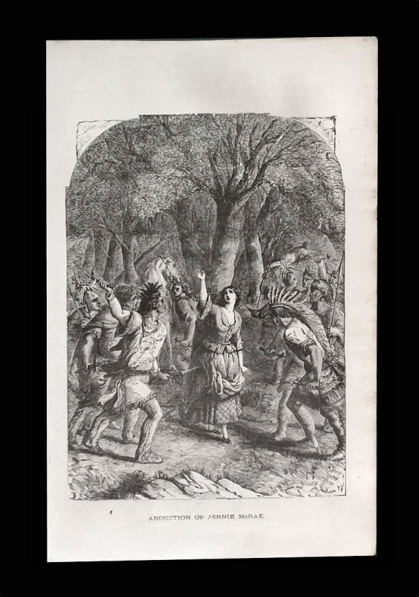 1777 Indian Abduction of Jennie McRae Engraving, ca